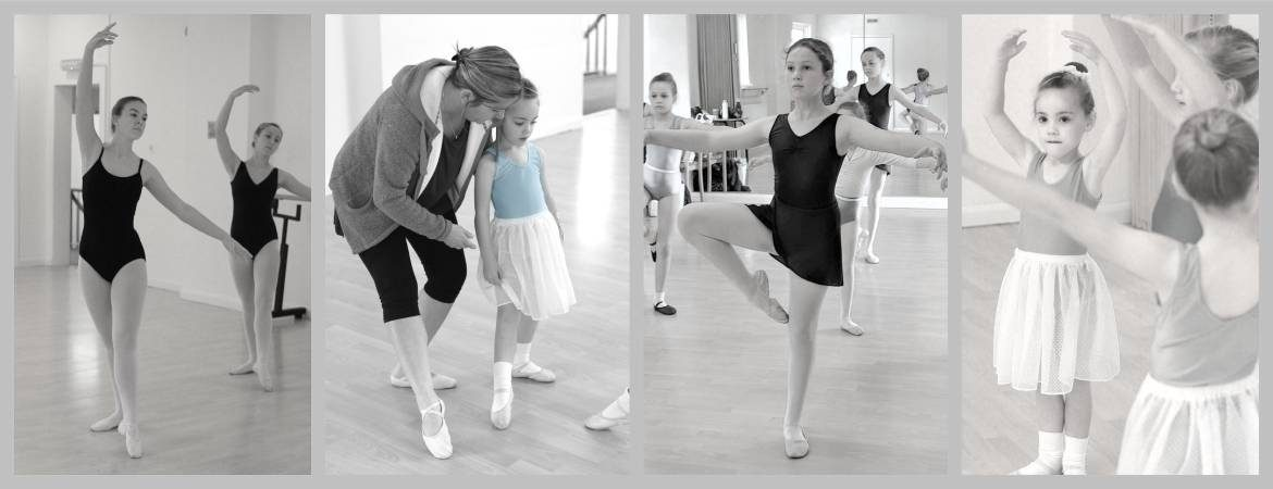 collage showing children learning ballet in the dance studio