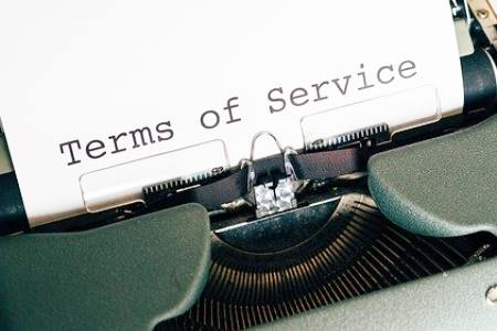 image showing page in a typewriter saying terms of service