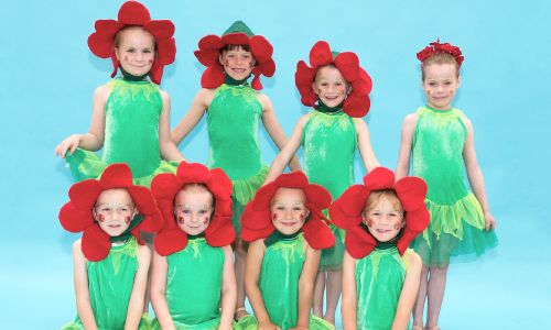 Image showing children dressed as flowers for a dance show
