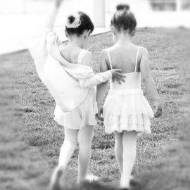 Image showing two little dancers walking away