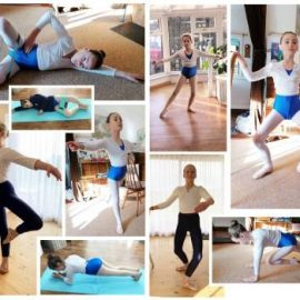 collage showing children learning ballet at home