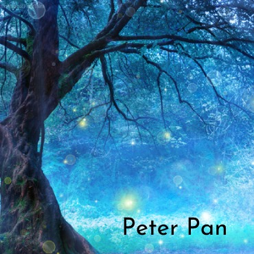 Peter Pan image - a tree with fairy lights flying